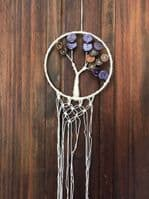 Handmade Macrame Tree Of Life Dreamcatcher, Sweet Dreams, Cotton, Buttons, Wall Hanging